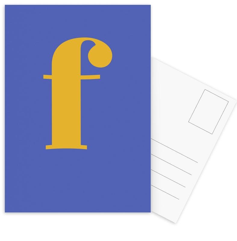 Blue Letter F -Postkartenset
