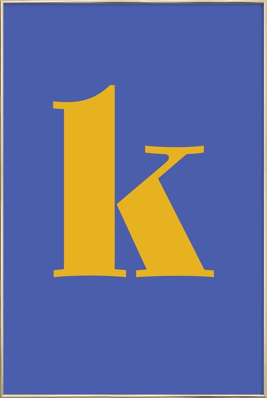 Blue Letter K Poster in Aluminium Frame