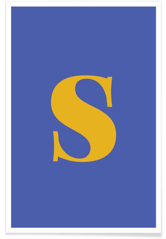 Blue Letter S affiche