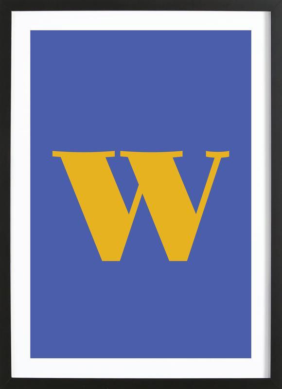 Blue Letter W affiche sous cadre en bois