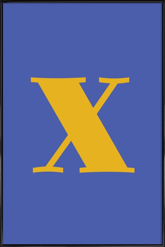 Blue Letter X -Bild mit Kunststoffrahmen