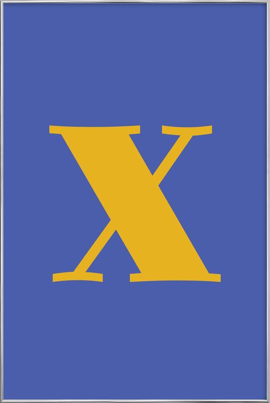 Blue Letter X Poster in Aluminium Frame