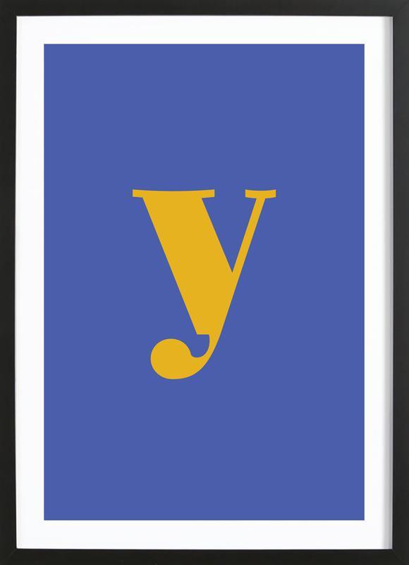 Blue Letter Y affiche sous cadre en bois