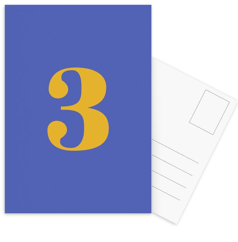 Blue Number 3 cartes postales
