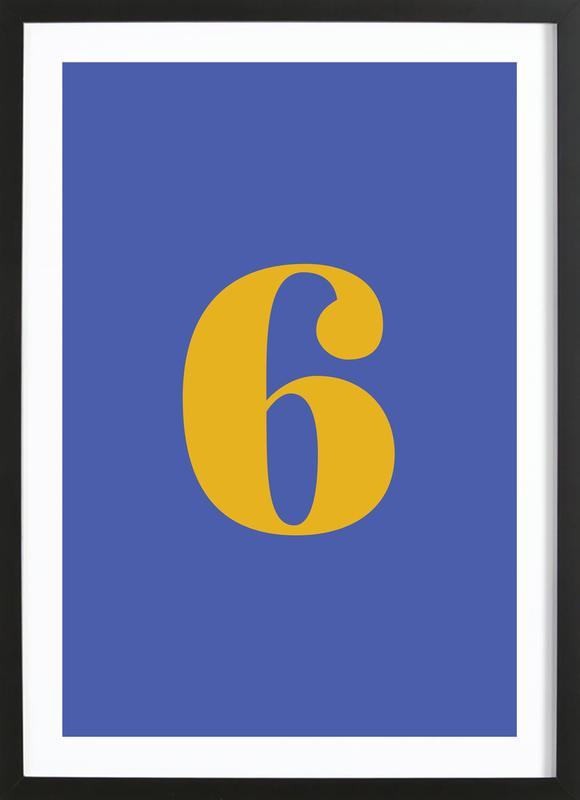 Blue Number 6 affiche sous cadre en bois