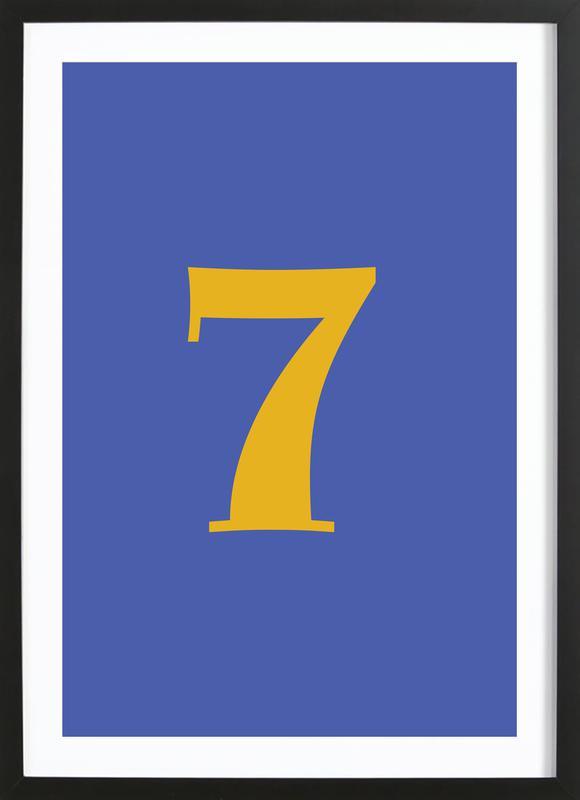 Blue Number 7 affiche sous cadre en bois