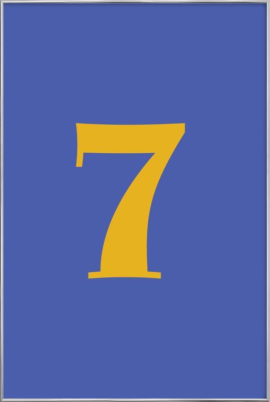Blue Number 7 affiche sous cadre en aluminium