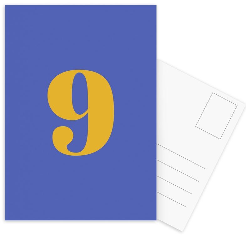 Blue Number 9 -Postkartenset