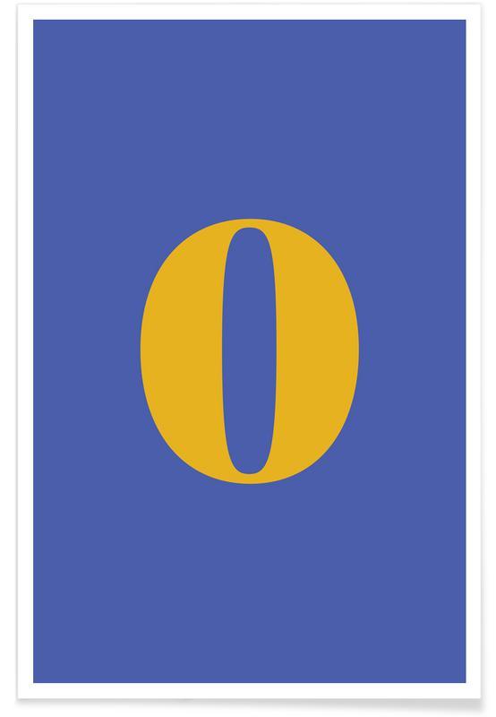 Blue Number 0 Poster