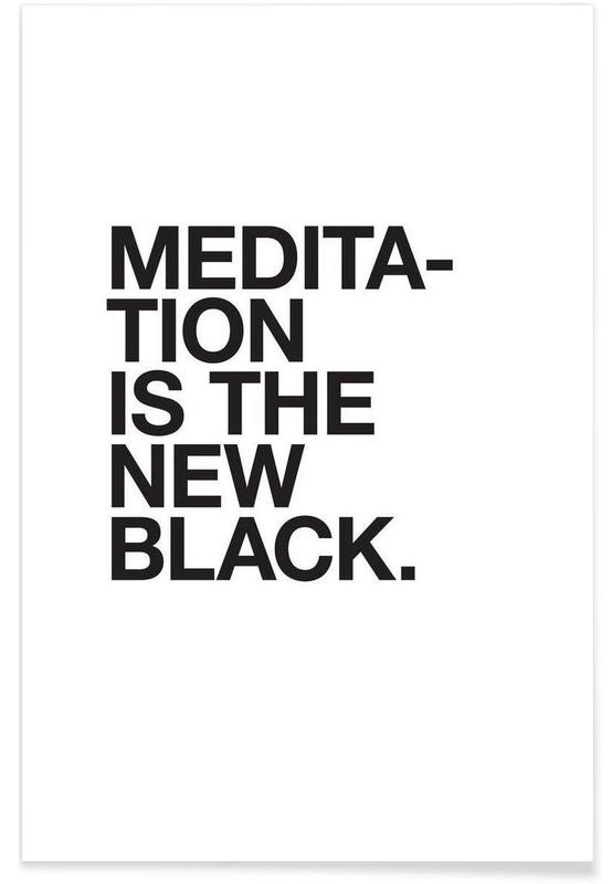 Meditation black póster