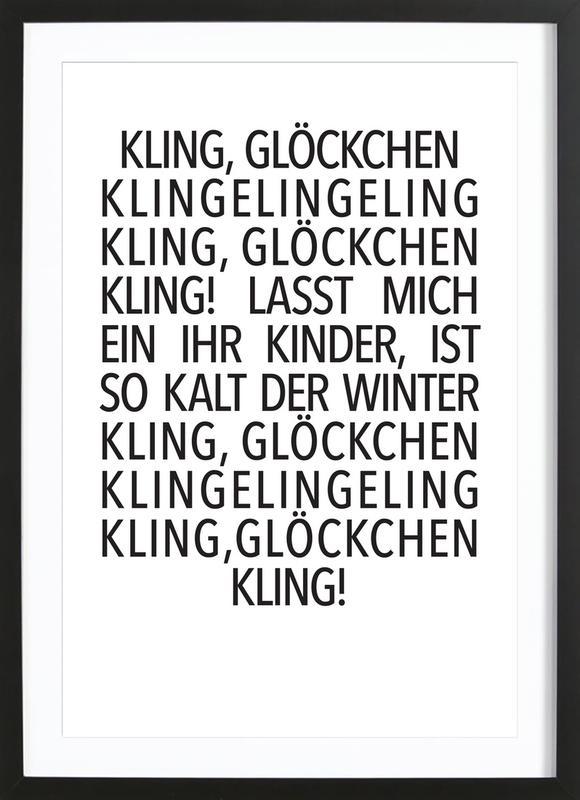 Kling Glöckchen -Bild mit Holzrahmen