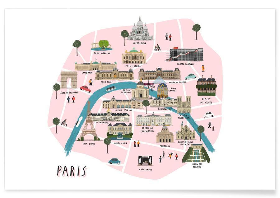 Paris Map -Poster