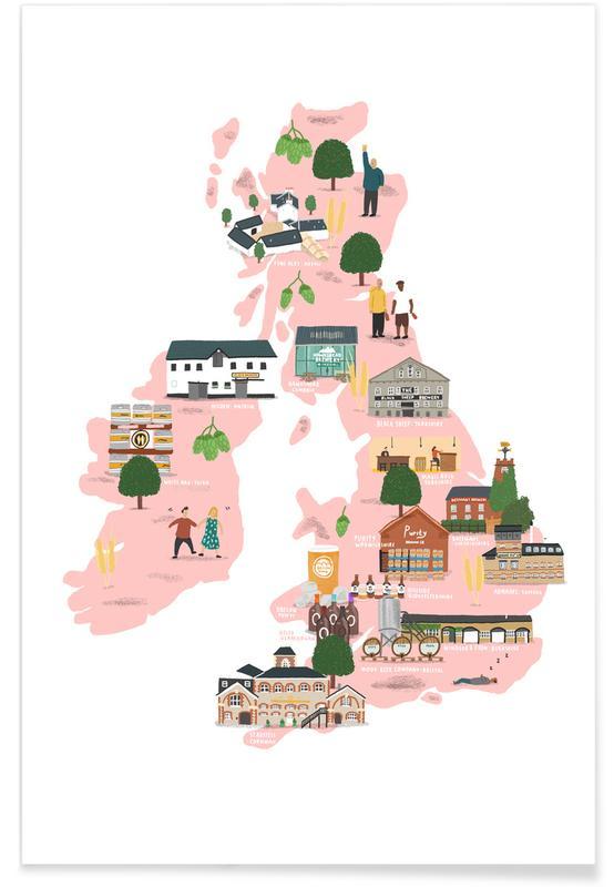 UK & Ireland Beer Map -Poster
