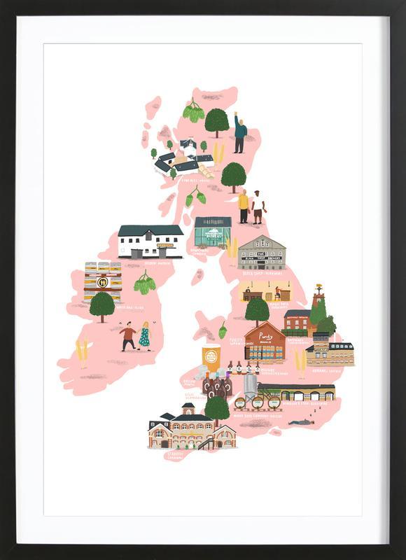UK & Ireland Beer Map Framed Print