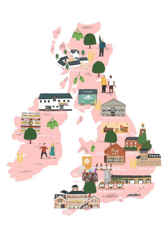 UK & Ireland Beer Map Aluminium Print