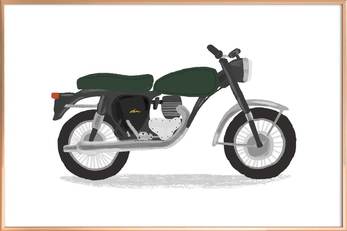 Classic Motorbike Poster in Aluminium Frame
