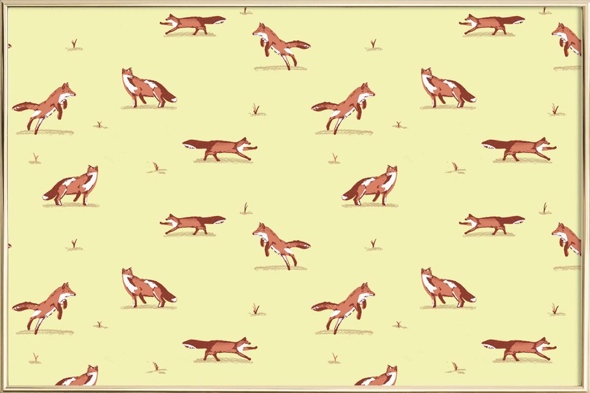 Foxes -Poster im Alurahmen