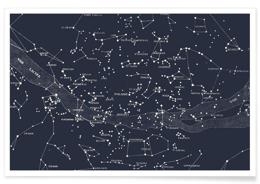 Carte des étoiles affiche