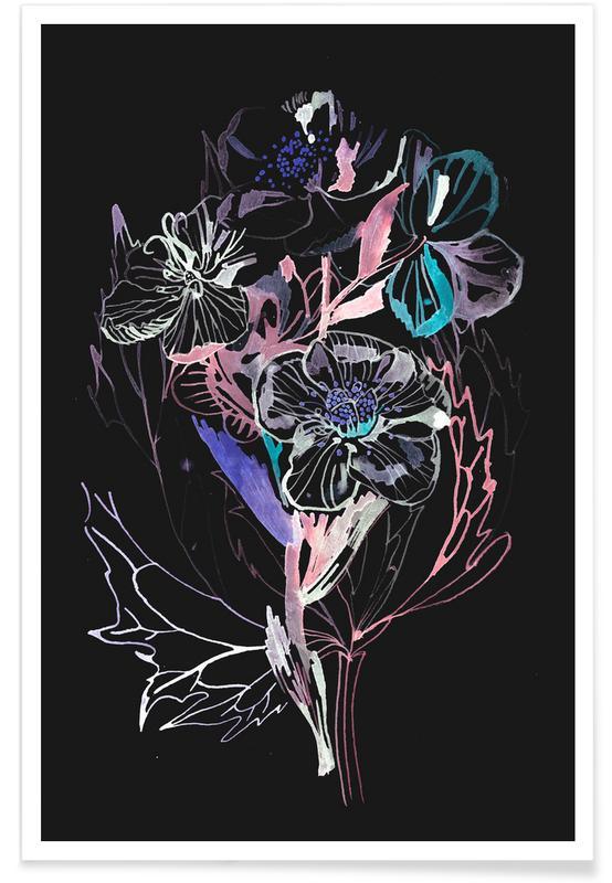 Bouquet Black Poster