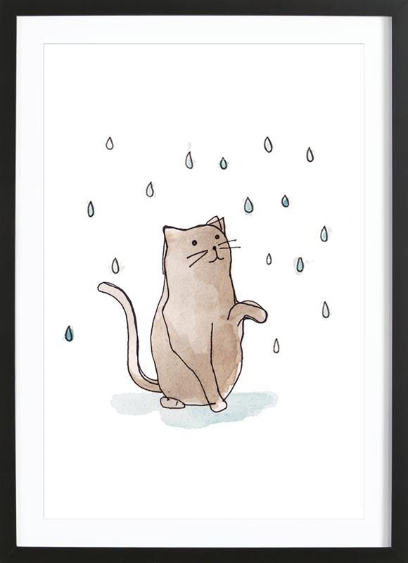 Cat in the Rain affiche sous cadre en bois