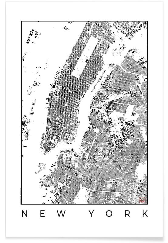 New York - zwarte stadskaart poster