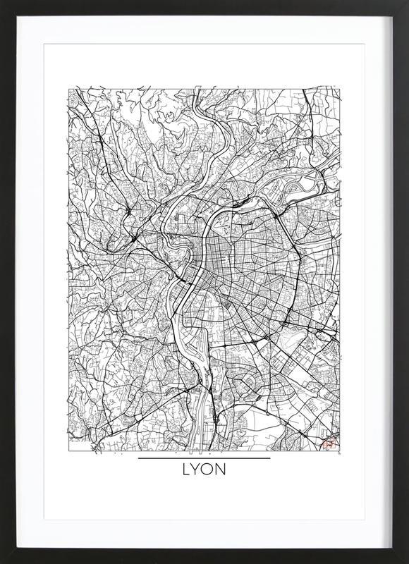 Lyon Minimal affiche sous cadre en bois