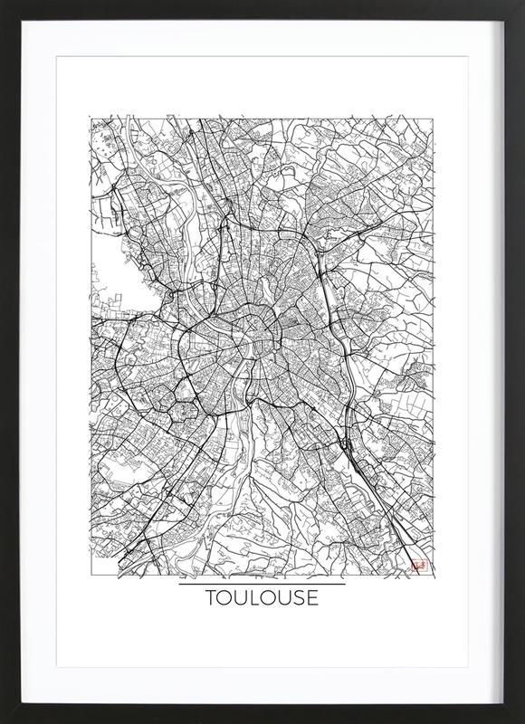 Toulouse Minimal -Bild mit Holzrahmen