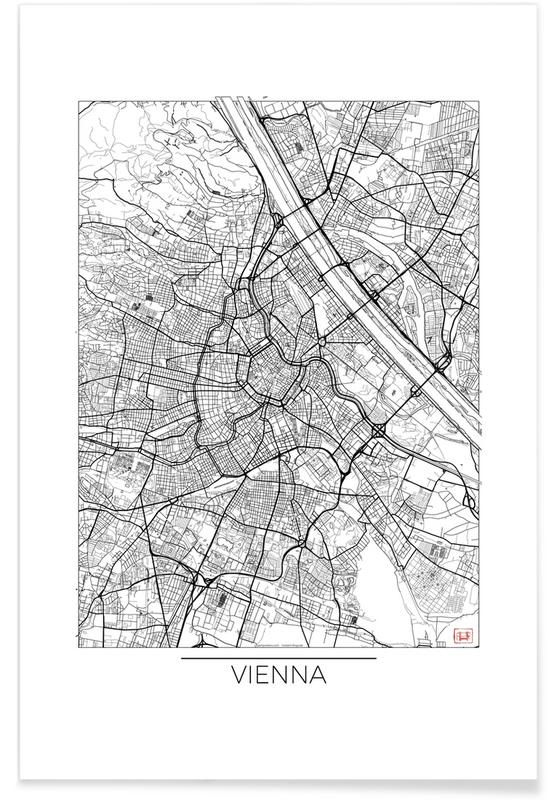 Wien-Minimalistische Stadtkarte -Poster