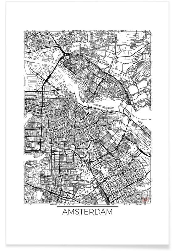 Amsterdam - Carte minimaliste affiche