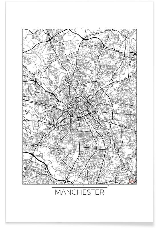Manchester - Carte minimaliste affiche
