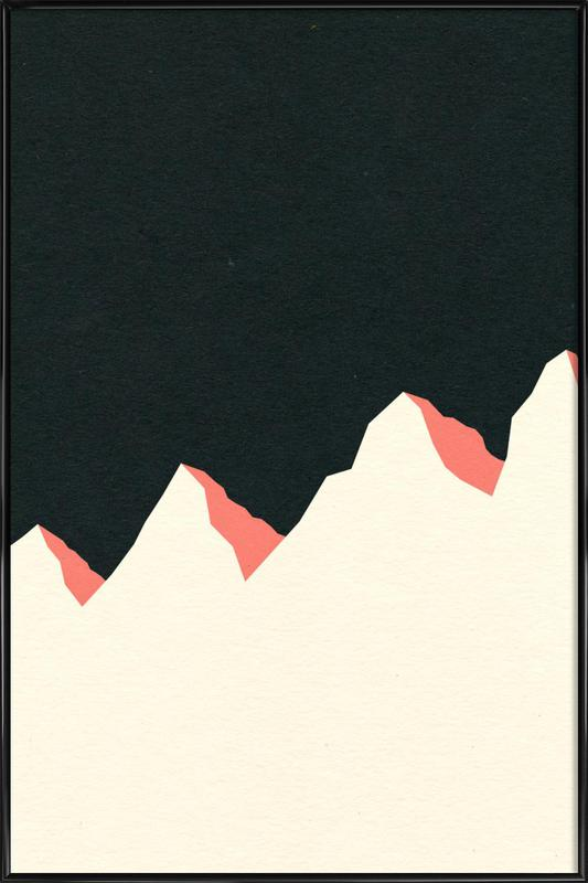 Dark Night White Mountains -Bild mit Kunststoffrahmen