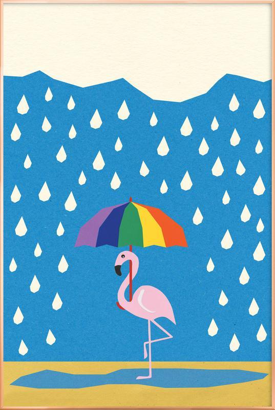 Flamingo de Umbrella Poster in Aluminium Frame