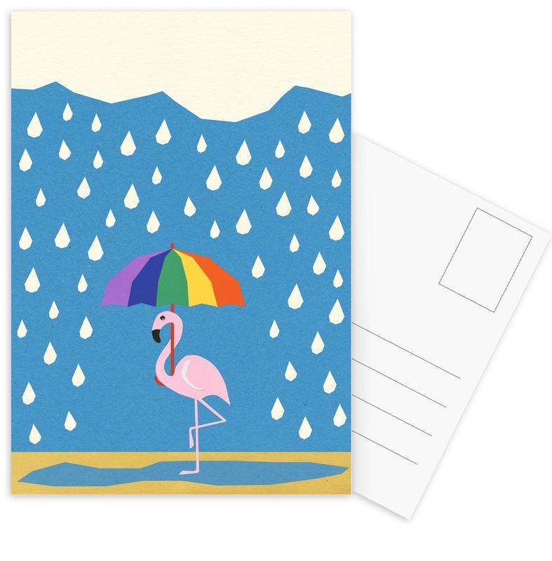 Flamingo de Umbrella -Postkartenset