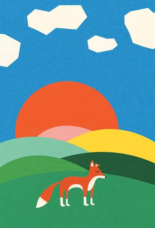 Fox and Field -Acrylglasbild