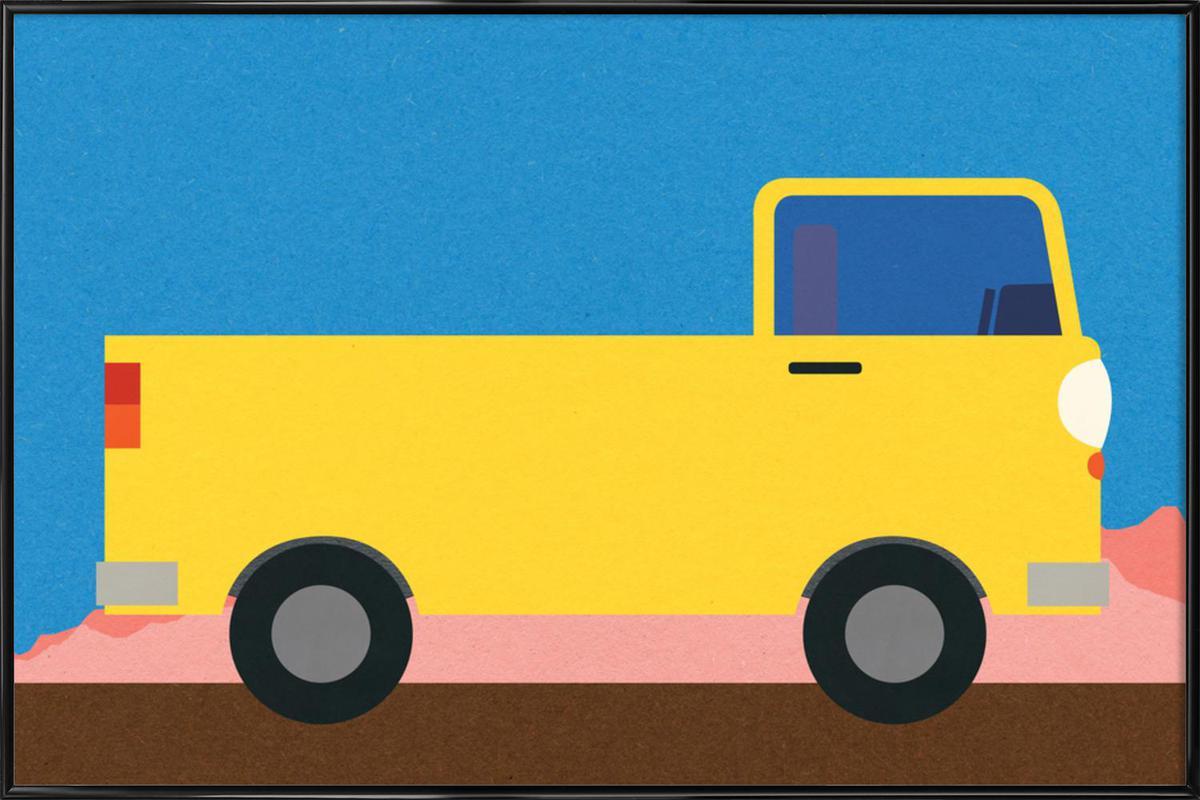 Little Yellow Pickup Truck -Bild mit Kunststoffrahmen