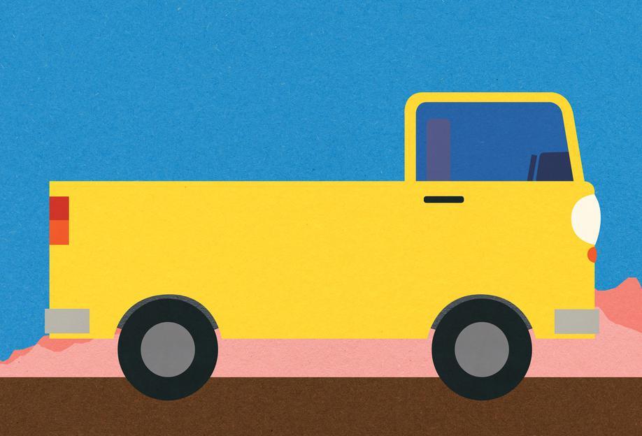 Little Yellow Pickup Truck -Acrylglasbild