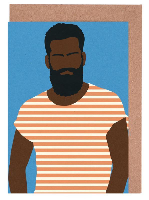 Man with Striped Shirt Greeting Card Set