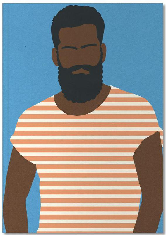 Man with Striped Shirt Notebook