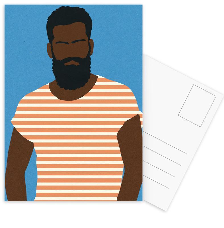 Man with Striped Shirt -Postkartenset