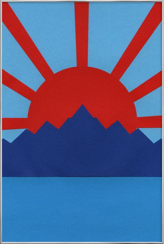 Ocean Moutains Rising Sun Poster in Aluminium Frame