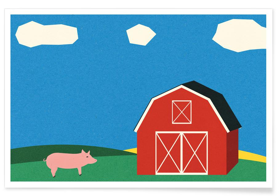 Pig and Barn -Poster
