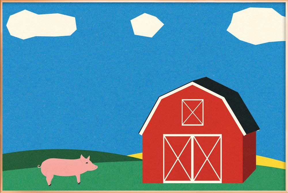 Pig and Barn -Poster im Alurahmen