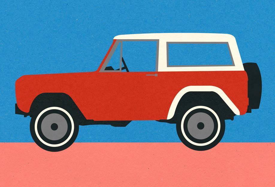 Red SUV Aluminium Print