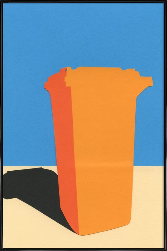 Orange Garbage Bin -Bild mit Kunststoffrahmen