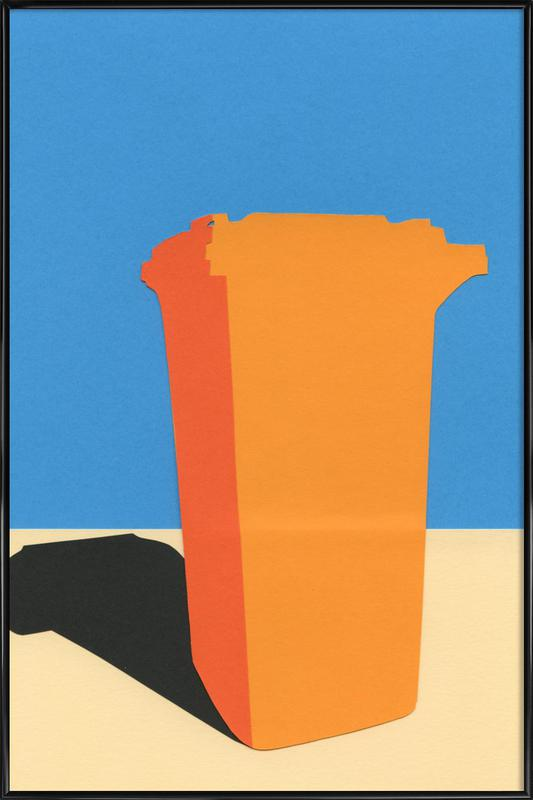 Orange Garbage Bin Framed Poster