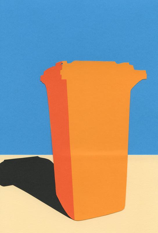 Orange Garbage Bin Aluminium Print