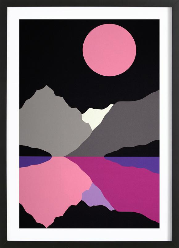 Moonlight On Lake Tenaya affiche sous cadre en bois