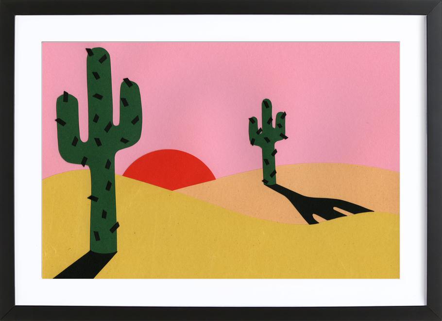 Two Cacti In The Desert Sun Framed Print