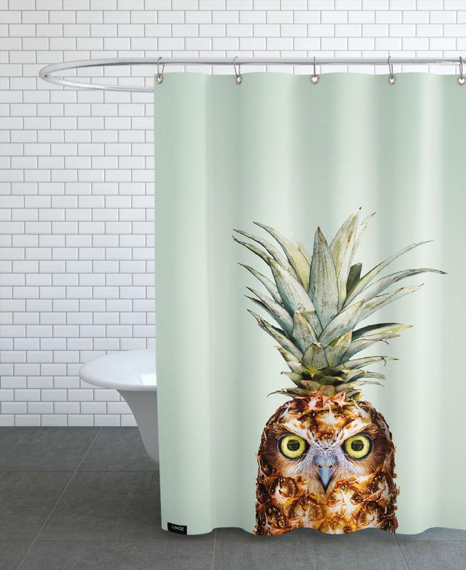 Pineapple Owl Shower Curtain