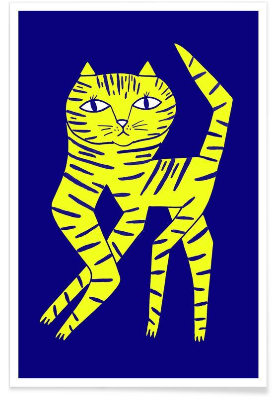 Cat Round Yellow Poster